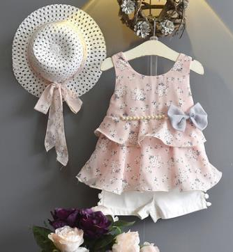 Bowtique Floral and Pearls Set - Priority Shipping Clothing Sets Little Palace Store Pink 2-3T
