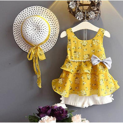 Bowtique Floral and Pearls Set - Priority Shipping Clothing Sets Little Palace Store Yellow 2-3T