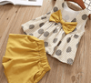 Bowtique Polka Bow Set - Priority Shipping Clothing Sets Little Palace Store Mustard Yellow 2T