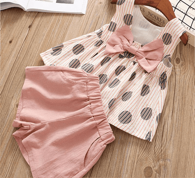 Bowtique Polka Bow Set - Priority Shipping Clothing Sets Little Palace Store Pink 2T