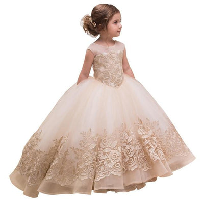 Champagne Princess Dress-Priority Shipping - Little Palace Store