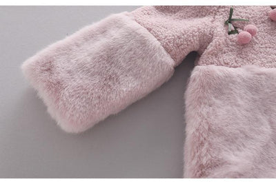 Cherry Faux  Fur Coat-Priority Shipping - Little Palace Store
