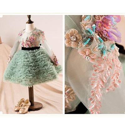 Embroidery Crystal Ruffles Princess Dress-Limited Edition - Little Palace Store