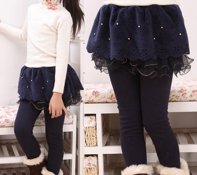 Fashion Lace And Cotton Leggings - Little Palace Store