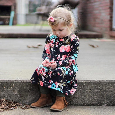 Floral Print  Long Sleeve Dress - Little Palace Store