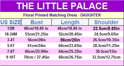 Floral Printed Matching Dress - Little Palace Store