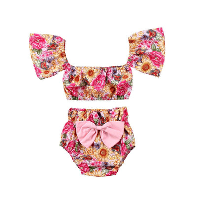 Flower Off Shoulder Two Piece - Little Palace Store