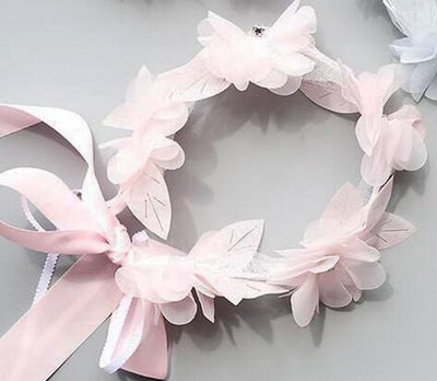Flower Wreath Long Ribbon Hairband - Little Palace Store