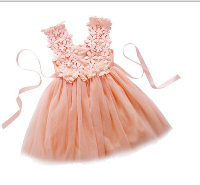 Girls Flower Sundress - Priority Shipping Dresses Little Palace Store Pink 1-2 (2T)