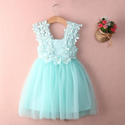 Girls Flower Sundress - Priority Shipping Dresses Little Palace Store Sky Blue 1-2 (2T)