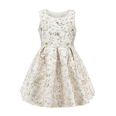 Golden Flowers Dresses - Priority Shipping Dresses Little Palace Store Beige 6-7