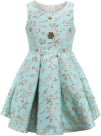 Golden Flowers Dresses - Priority Shipping Dresses Little Palace Store Light Blue 6-7