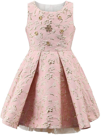 Golden Flowers Dresses - Priority Shipping Dresses Little Palace Store Pink 6-7