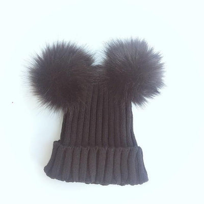 Knitted Fur Pom Pom Beanie - Little Palace Store