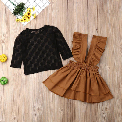 Lace Top  with Dress Overalls Outfit Set - Little Palace Store