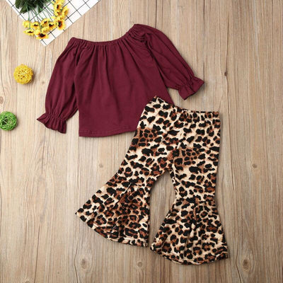 Leopard Long Sleeve Tops with Flared Pants Set - Little Palace Store