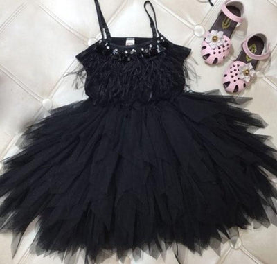 Little Princess Feathers And Ruffles Dress - Little Palace Store