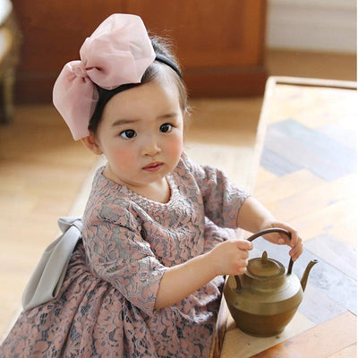 Mini Princess Grey PInk Bow Dress - Little Palace Store