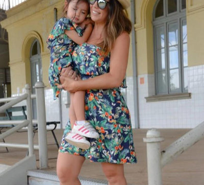 Mom and Daughter Tropical Dress - Little Palace Store