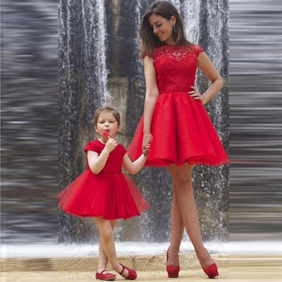 Mother Daughter Matching Red Dress - Little Palace Store