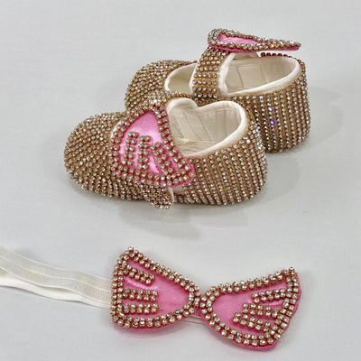Pink Rhinestones Mini Princess Shoes and Headband Set - Little Palace Store