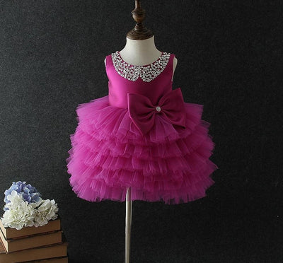 Princess Bow And Tutu Dress Dresses Little Palace Store Dark Pink 1T