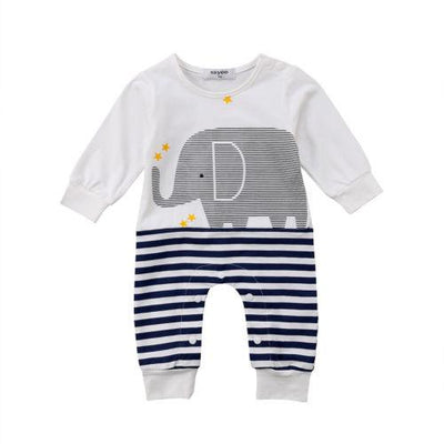 Romper With Elephant In Stripes - Little Palace Store