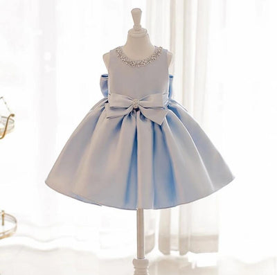 Sky Princess Blue Bows Dress - Little Palace Store
