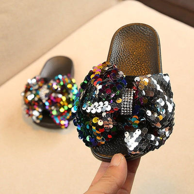 Sparkly Rhinestone Bow Slippers - Little Palace Store