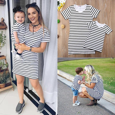 Stripes Matching Set Dress - Little Palace Store