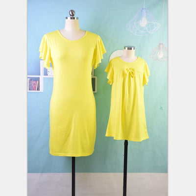 The Yellow Power Matching Dress Set - Little Palace Store