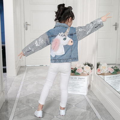 Unicorn Denim Jacket With Sequin Sleeves - Little Palace Store