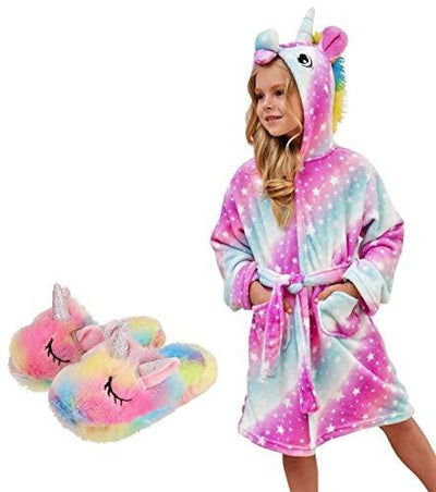 Unicorn Hooded Bathrobe with Slippers Set - Priority Shipping Unicorn Little Palace Store Pink 2-3 Years
