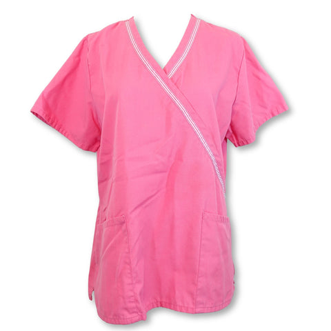 Simply Basic Mock Wrap Top (960) >> Shocking Pink, Small