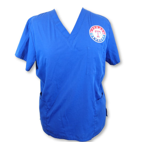 Cherokee Workwear Unisex Texas Rangers V-Neck Scrub Top (4876) >> Galaxy Blue, X-Large