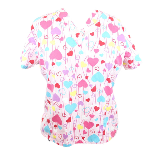 Scrub Studio V-Neck Heart Print Top >> Patterned, 2X-Large