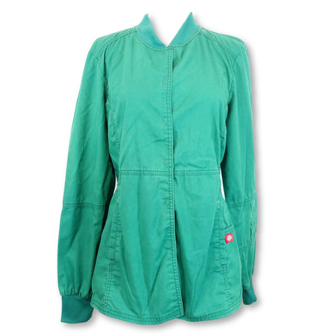 Dickies Round Neck Front Snap Coat (85304) >> Hunter Green, Small