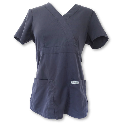 Grey's Anatomy 3 Pocket Mock Wrap Top (4153) >> Graphite, X-Small