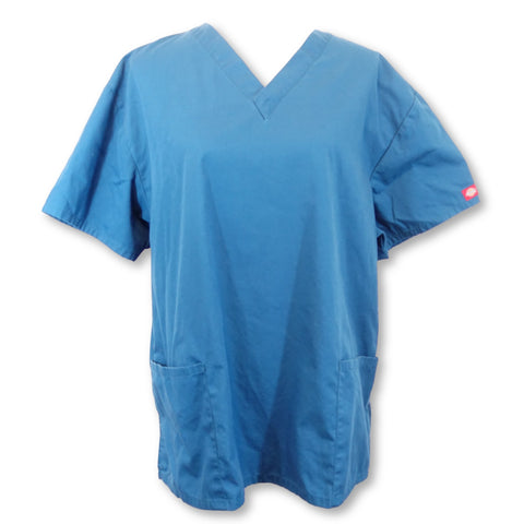 Dickies Women's EDS Signature V-Neck Scrub Top (86706) >> Caribbean Blue, X-Large