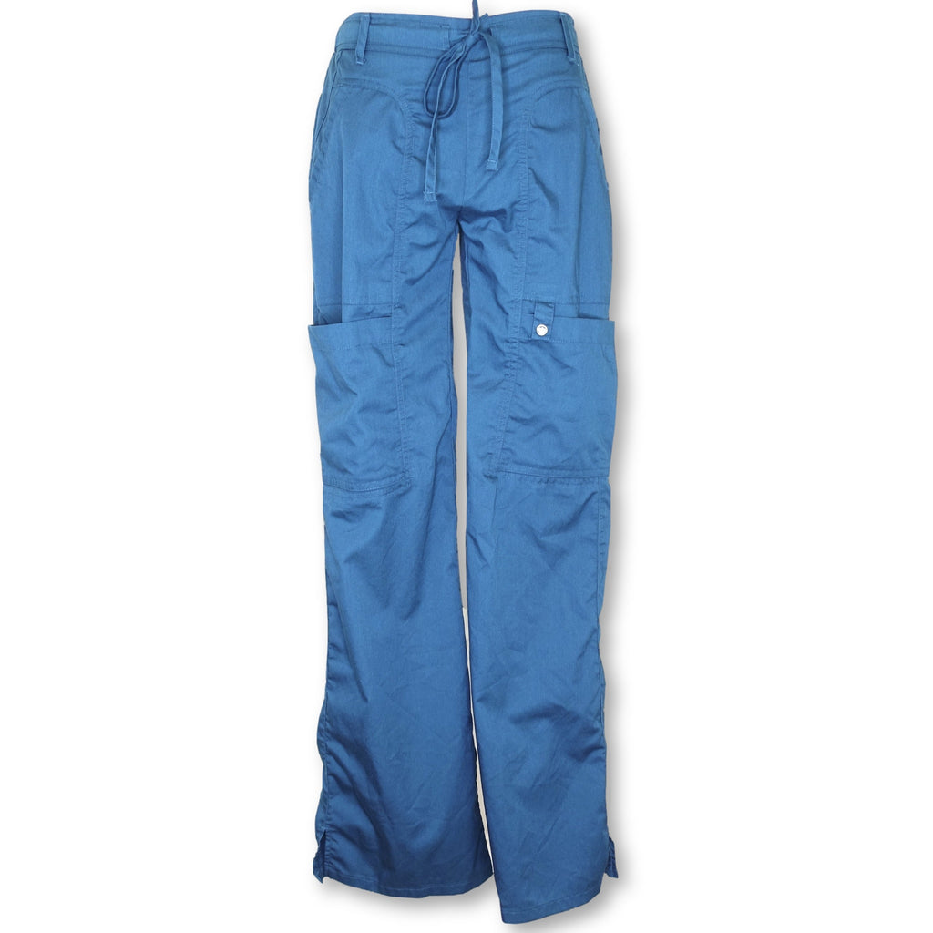 Cherokee Luxe Low Rise Drawstring Cargo Pants (21100) >> Caribbean Blue, XX-Small