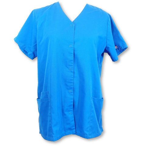 Cherokee Workwear Scrubs Snap Front Tunic (4770) >> Royal Blue, Medium