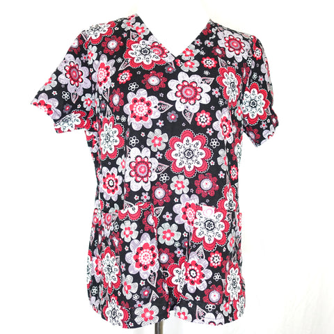 Peaches V-Neck Flower Print Top (9424) >> Patterned, X-Large