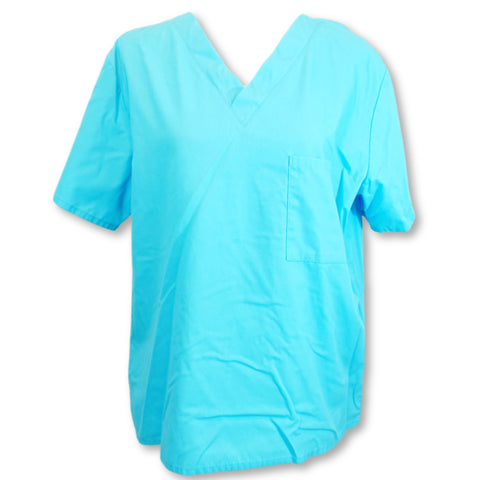 Wal-Mart Unisex Scrub Top with Pocket (13150) >> Turquoise, Small