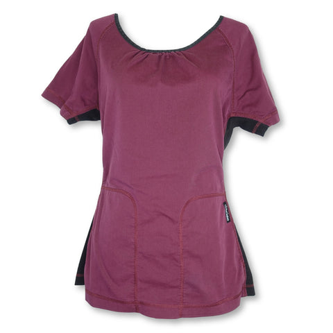 Cherokee Flexstretch Scoop Neck Top (2656) >> Raisin, X-Small