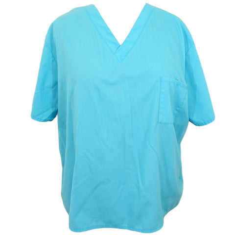 Wal-Mart Unisex Scrub Top with Pocket >> Turquoise, 3X-Large