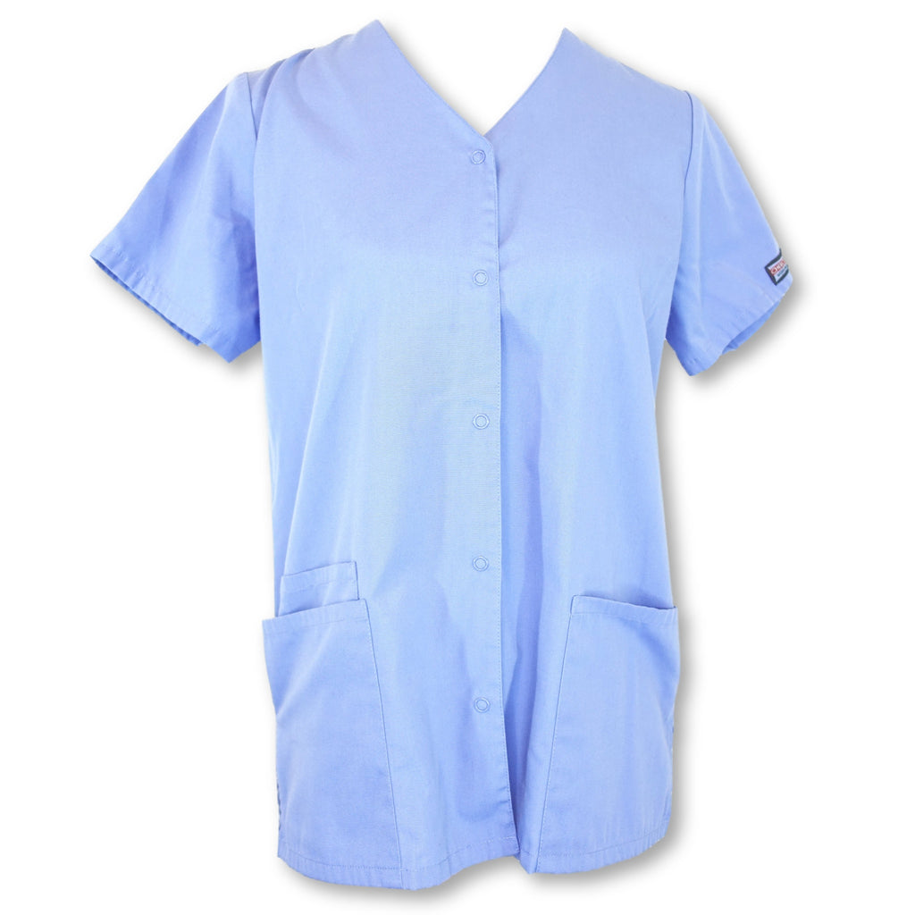 Cherokee Workwear Scrubs Snap Front Tunic (4770) >> Ceil Blue, X-Small
