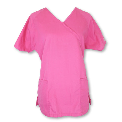 Uniform Advantage Best Buy Mock Wrap Top (668) >> Pink, Medium