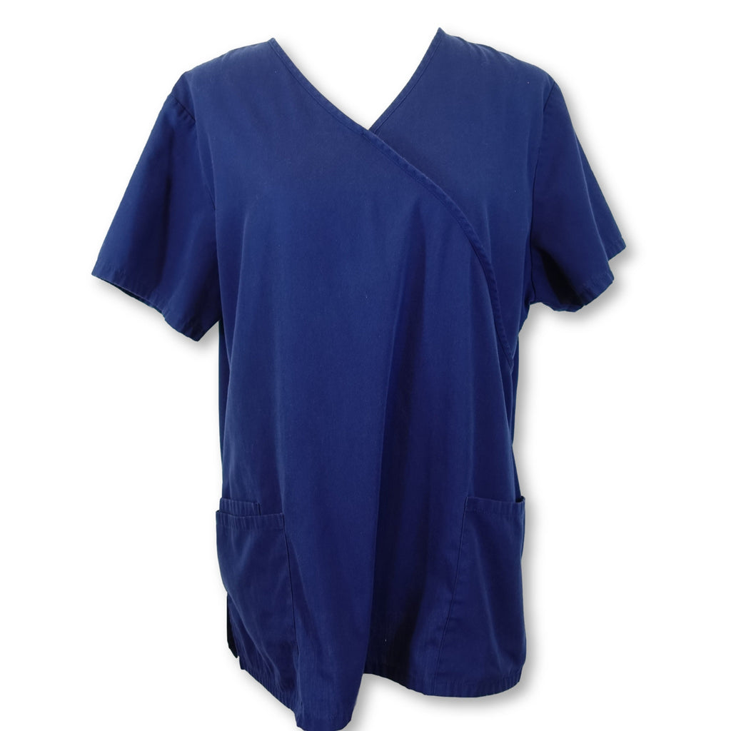 Simply Basic Mock Wrap Top (996) >> Indigo, Large