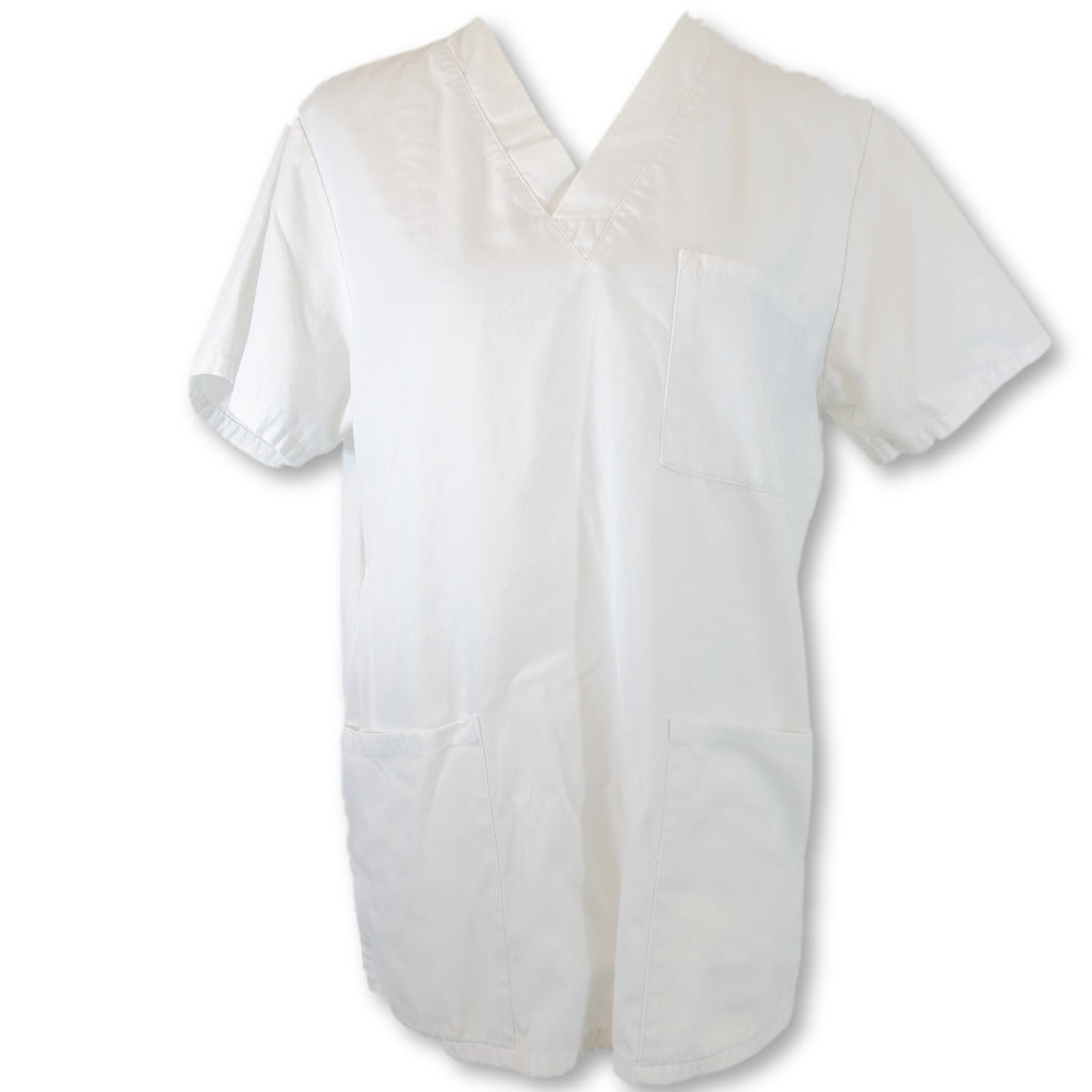 Cherokee Workwear Unisex V-Neck Scrub Top (4876) >> White, X-Small