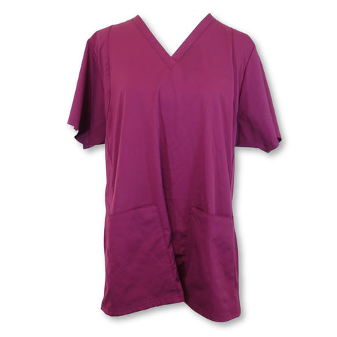 WonderWink HP SYNC V-Neck Top (6112) >> Wine, X-Large